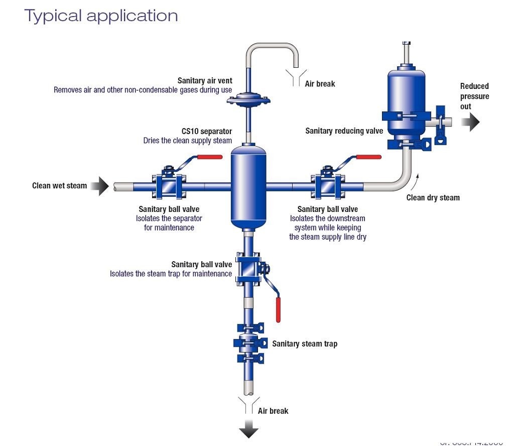 Typical Sanitary Clean Steam Separator Application